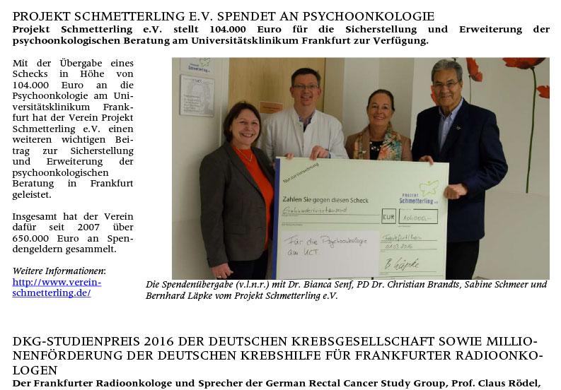 Projekt Schmetterling e.V. spendet an Psychoonkologie