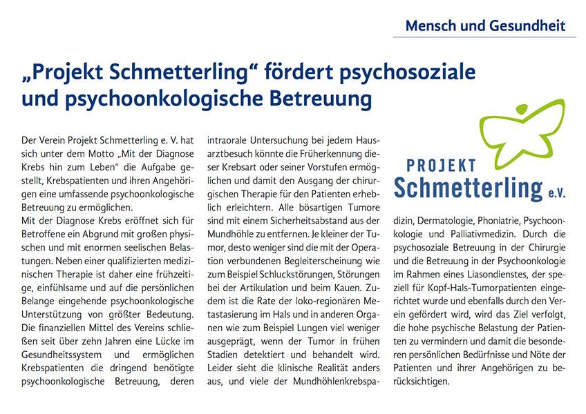 """Projekt Schmetterling"" fördert psychosoziale und psychoonkologische Betreuung"