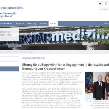 Ehrung für außergewöhnliches Engagement in der psychosozialen Betreuung von Krebspatienten