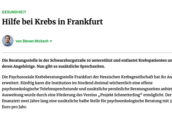 Hilfe bei Krebs in Frankfurt