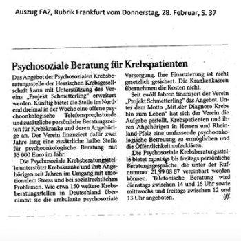 Psychosoziale Betreuung für Krebspatienten-FAZ